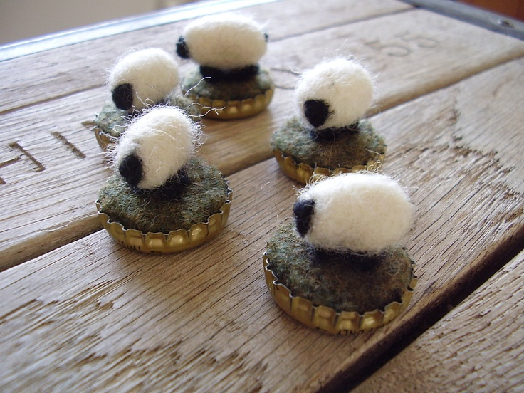 Felted wool sheep in upcycled bottlecaps wholesale by HouseOfMoss