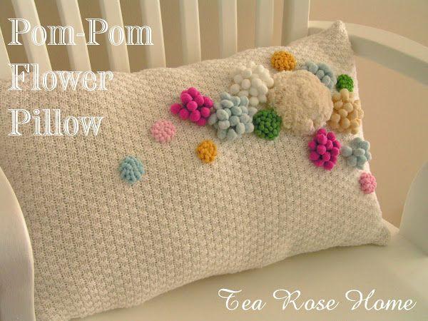 Tutorial~ Pom-Pom Flower PillowPom Poms, For Kids, Flower Pillows, Pillows Tutorials, Tutorials Crochet, Pompom Flower, Teas Rose, Pom Pom Flower, Pom Pom Trim