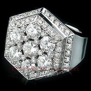 very high end diamond rings | 14K Mens High End Diamond Ring w Large Diamonds 5.66