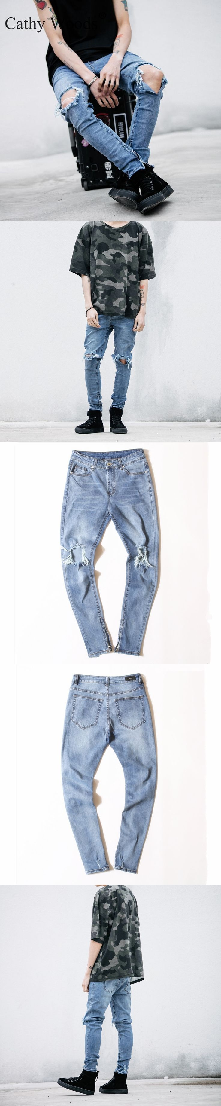 2016 Men's  Ripped jeans With Zipper Skinny Cool Slim Fit Mens   West Jeans Urban Jeans Pants For Men