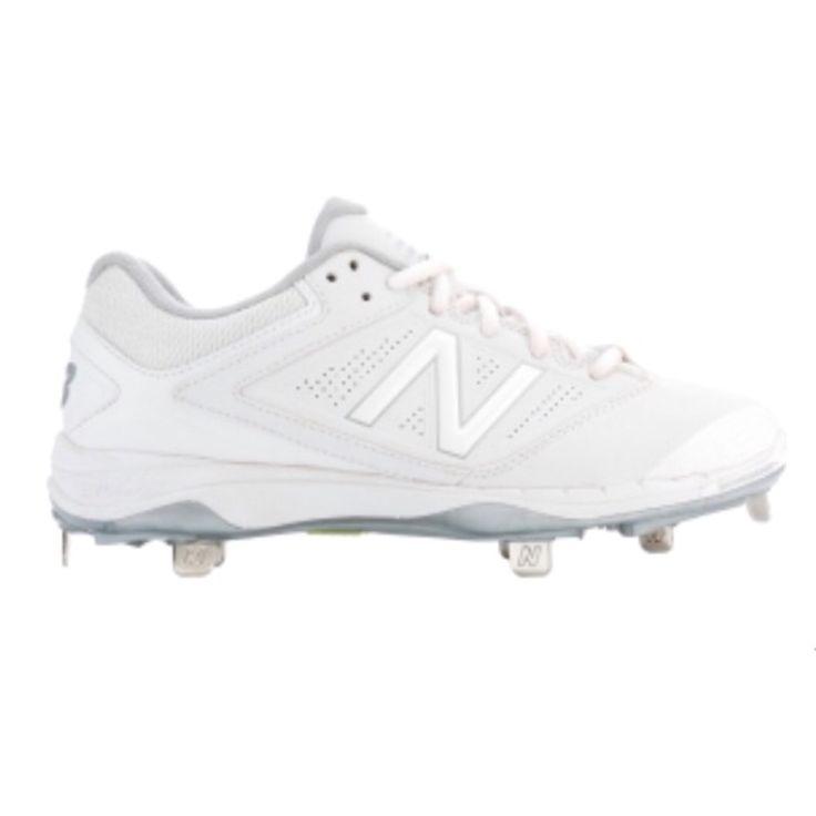 White metal softball cleats