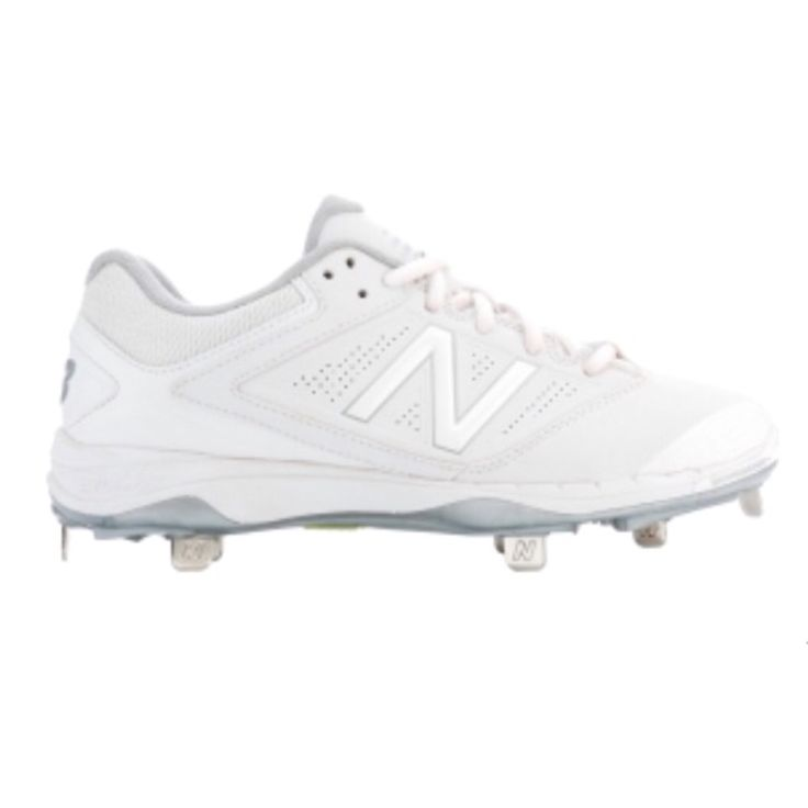 White metal softball cleats
