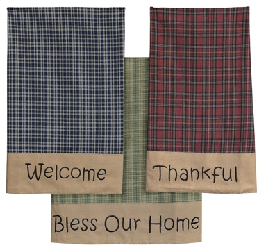 """Primitive Tea Cabin Tea Towels Set of Three -  Co-ordinate your country kitchen with these charming tea towels! Plaid linen dishcloths in red, green, and navy, each with a tan border with an embroidered message, """"Welcome"""", """"Bless Our Home"""" and """"Thankful"""" 19"""" wide and 28"""" long."""