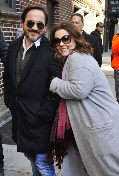 Melissa McCarthy and husband Ben Falcone appear on the 'Late Show with Stephen Colbert.'