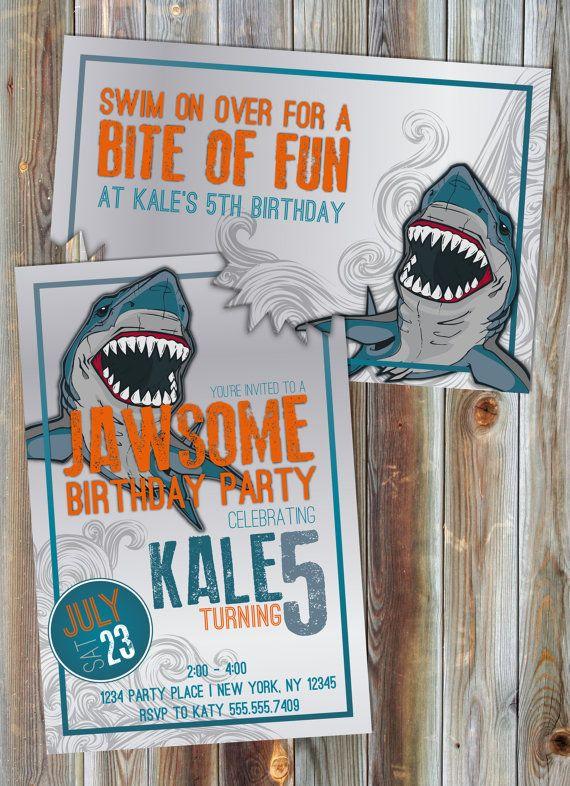 Convite De Aniversário Do Tema Tubarão, Convite De Aniversário Do Menino, Convite Para Festa Na Piscina, Convite De Aniversário Personalizado, Para Impressão, Oceano, Jawsome   – shark bday