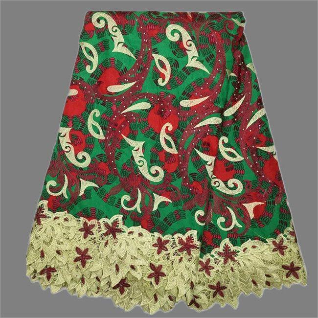 Новая мода Африканских анкара хлопок реального воск кружевной ткани для леди платье XLW6 (6 ярдов/серия) бесплатно доставка