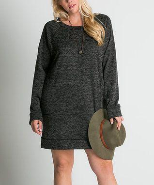 Heather Black Pocket Shift Dress - Plus