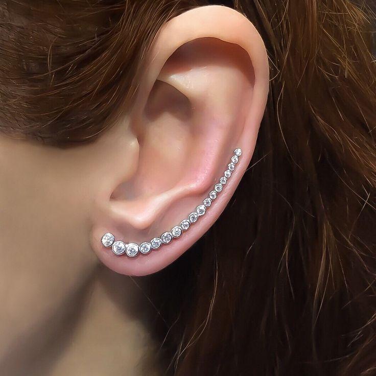 Ear cuff long sterling silver white zirconia ear climber earrings ear crawler ear cuffs and ear wraps earcuffs edgy earrings by TrendSilver on Etsy