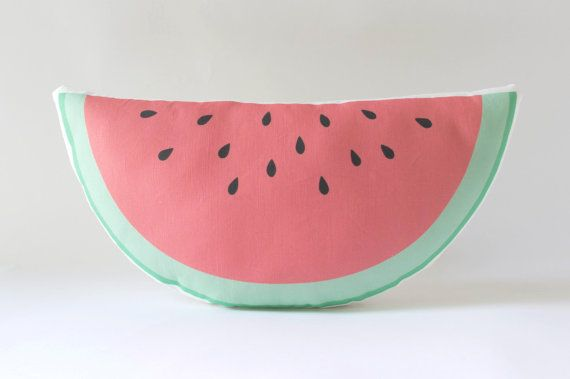 So juicy! This handmade watermelon pillow makes a sweet accent in a kids room or nursery! It features my original illustration printed on a linen