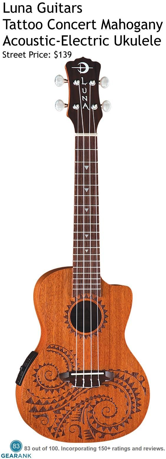Luna Guitars Tattoo Concert Mahogany Acoustic-Electric Ukulele. It has active electronics  so you can plug it directly into most amplifiers without the need for a preamp. For a detailed guide to the Best Acoustic Electric Ukuleles Under $300 see https://www.gearank.com/guides/electric-ukulele