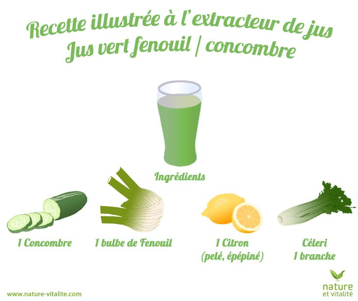 Recette illustrée pour un jus vert tonique : 1 concombre, 1 bulbe de fenouil, 1 citron (pelé et épépiné) et une branche de céleri. Mettez les ingrédients dans votre extracteur de jus au fur et à mesure, sans les forcer (laissez la gravité faire son travail).