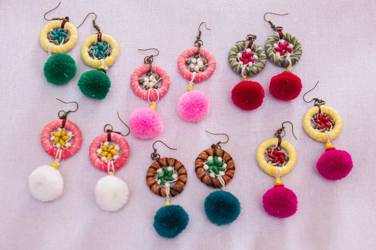 Dream Catcher Earring with pompom tails by CHEZMOIMYHOME on Etsy