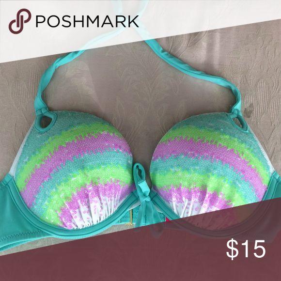 Sequin VS bikini top 34B Victoria's Secret swimsuit top. Only worn once and super cute. Victoria's Secret Swim Bikinis