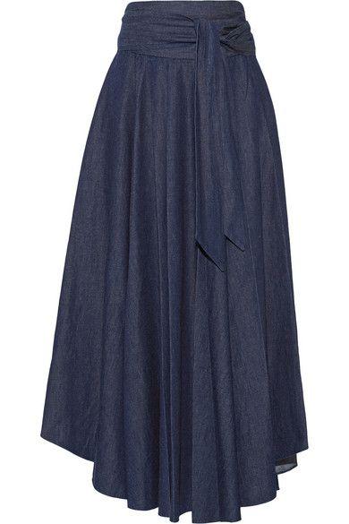 Tibi | Belted denim maxi skirt | NET-A-PORTER.COM