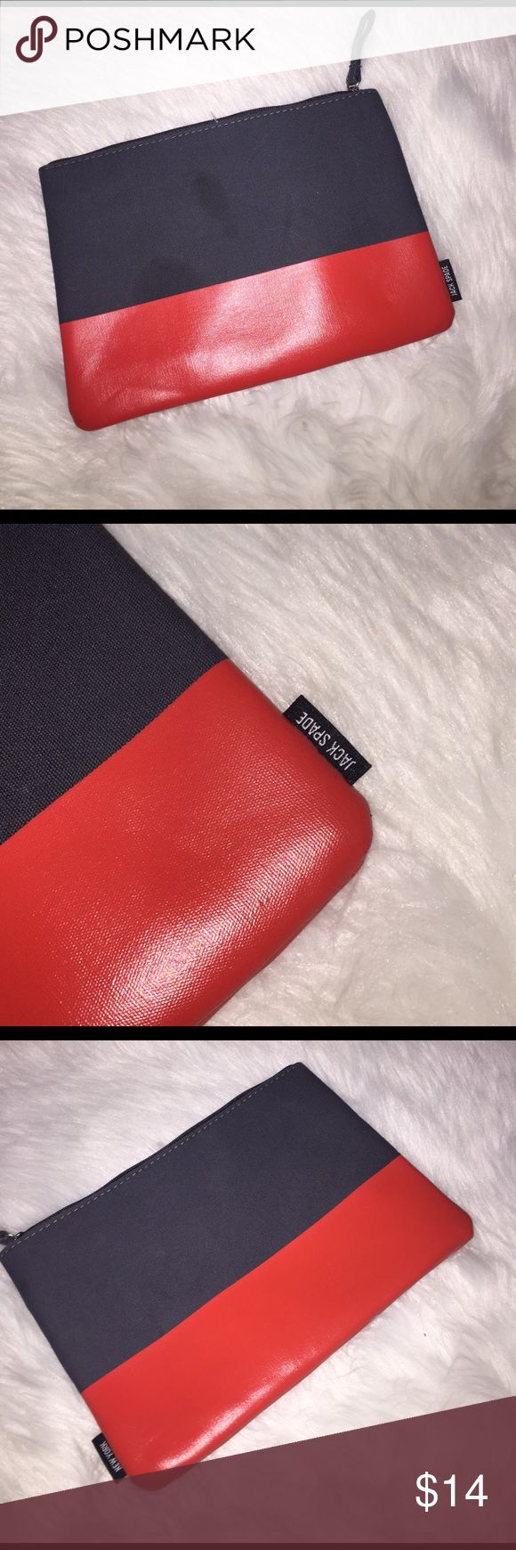 JACK Spade make up bag wristlet Jack spade, make up bag it is used in good condition, gorgeous and vibrant orange and blue in color. Jack Spade Bags Cosmetic Bags & Cases
