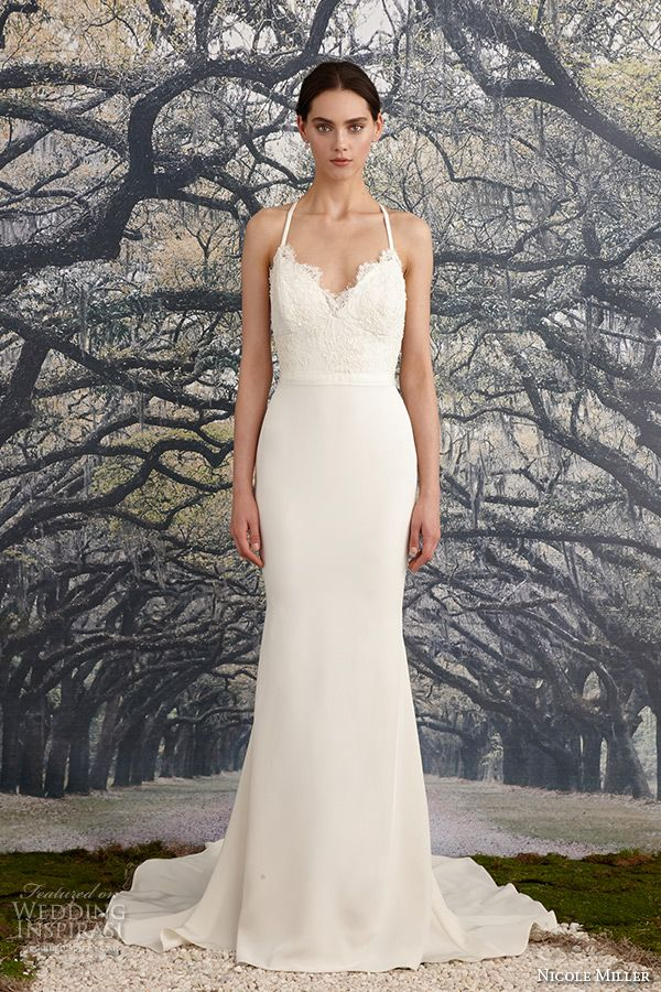 nicole miller spring 2016 bridal spagetti strap scalloped v neckline beaded corded lace sheath wedding dress blake