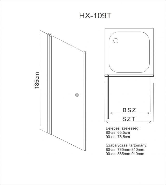 Aqualife HX-109T nyíló zuhanyajtó, 90x185 chrome profil matt üveg