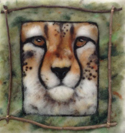 Needle Felted Painting of Cheetah by Annette Bugeja on www.livingfelt.com/blog