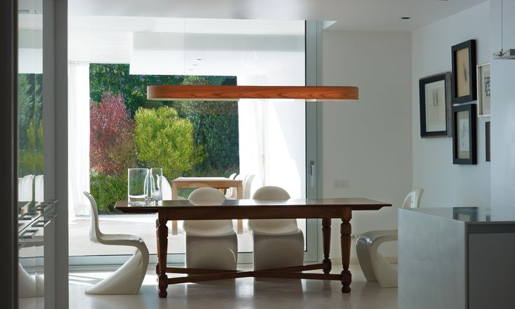LZF Lamps |I-Club, Large Suspension Lamp. Luxury dining | Wood touched by Light | Handmade Wood Lighting since 1994