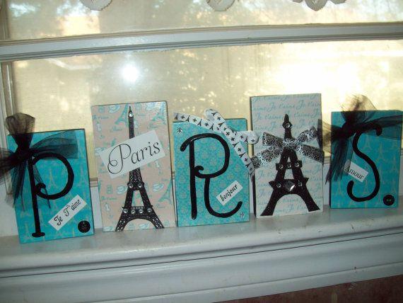 Blue teal Paris Letter blocks,Eiffel Tower decor,Paris Theme,Paris Birthday party,Paris decor,Paris wedding shower,Paris bedroom decor