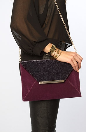 The Suedetta Envelope Clutch in Plum
