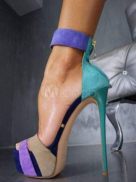 dcf99474cf Women's Sexy Sandals Open Toe Stiletto Heel Color Block Teal Sandal Shoes