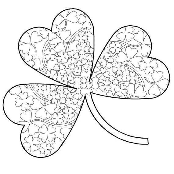 Printable Mandala Coloring 046 3 Leaf Clover St Patrick S Day