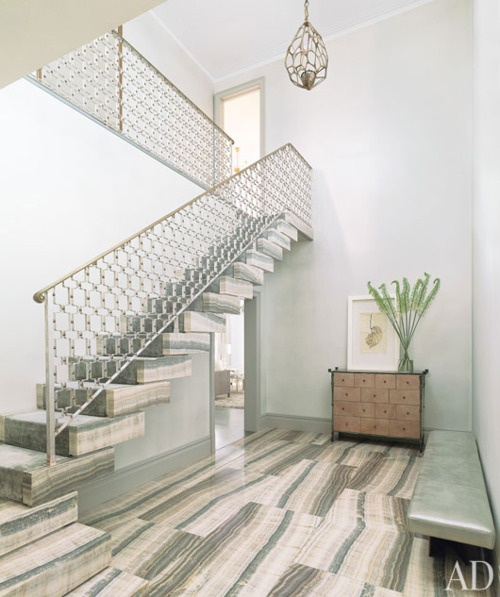 Stone floors, steps and geometric stair railing.: Interior Design, Stairs, Staircases, Floors, Interiors, Entrance Hall, David Mann