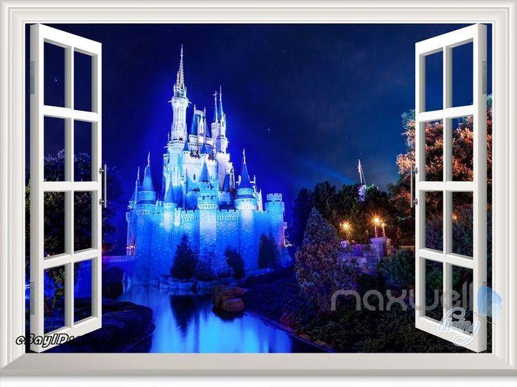 Disney Princess Magic Castle Night 3D Window Wall Decal Girl Sticker Party Decor #WallDcor