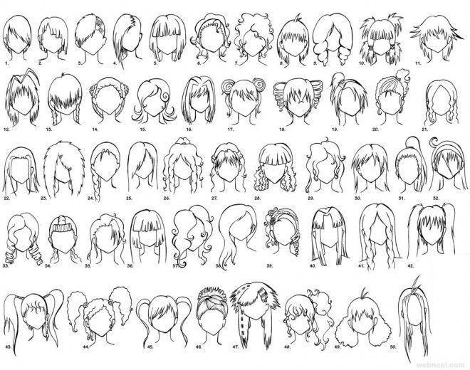 Cartoon Woman Hair Anime Hair Outline Wife Bordel Slozka Anime Bordel Cartoon Hair Outline Slozka W Lang Haar Kapsels Mensen Tekenen Kapsels