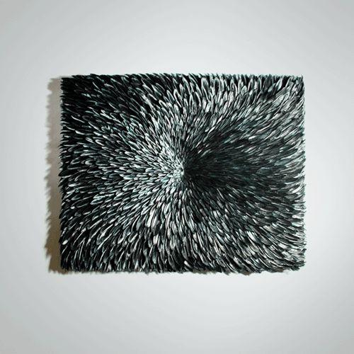 """Tableau """"Black Bird"""" 60 x 70 cm - plumes de canard -"""