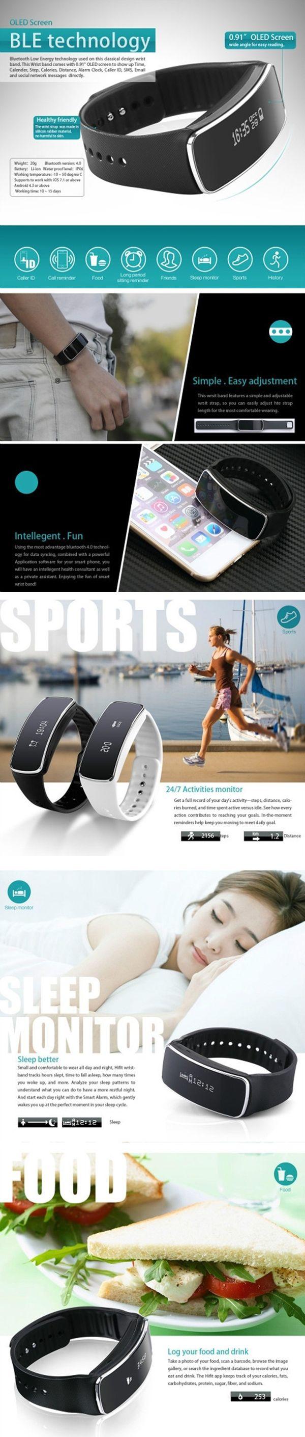 """V5S 0,91"""" Bluetooth V4.0 elegante pulsera con podómetro / llamadas de recordatorio / dormir control - negro."""
