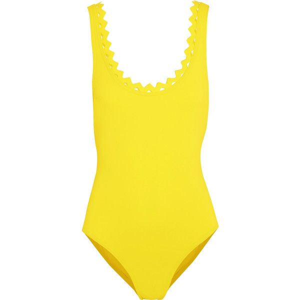 Karla Colletto Reina swimsuit ($230) ❤ liked on Polyvore featuring swimwear, one-piece swimsuits, bright yellow, long-sleeve bathing suits, long one piece swimsuits, karla colletto swimsuits, swim suits and karla colletto swimwear
