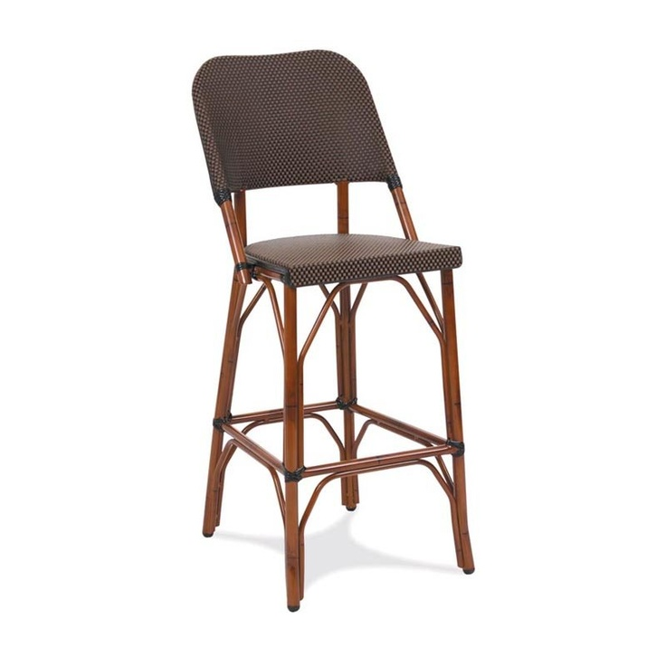 Gar Products 30 Inch Seaside Collection Resin Wicker Bar Stool Dark Bamboo