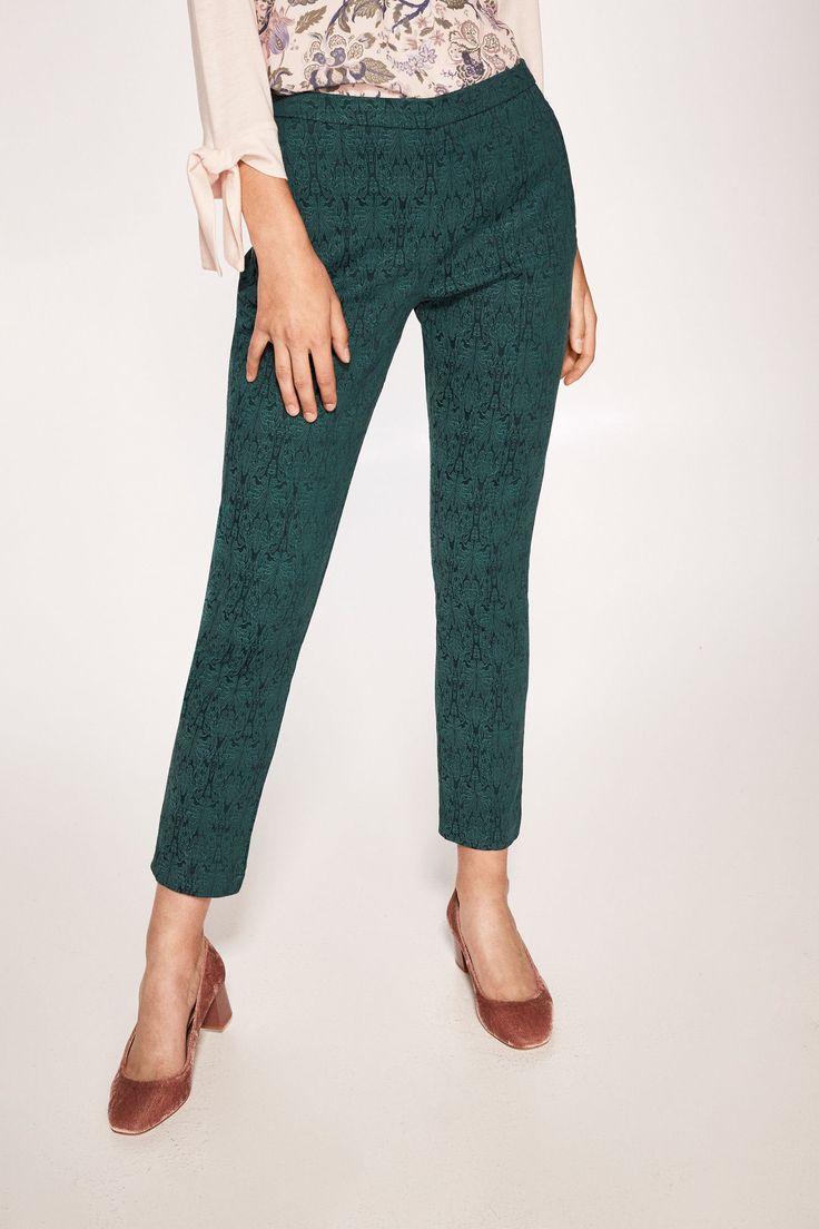 J2017  Cortefiel Jacquard trousers Green