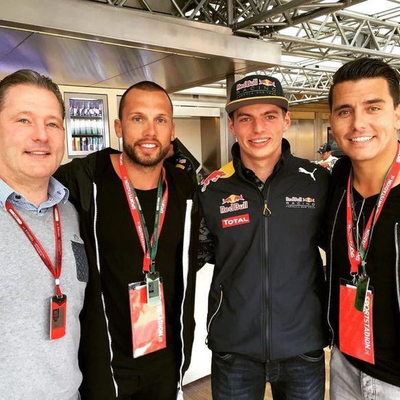 (LR) Jos Verstappen, John Heitinga, #Max #Verstappen and Jan Smit #F1 #Soccer #F1 #Singer at #Silverstone