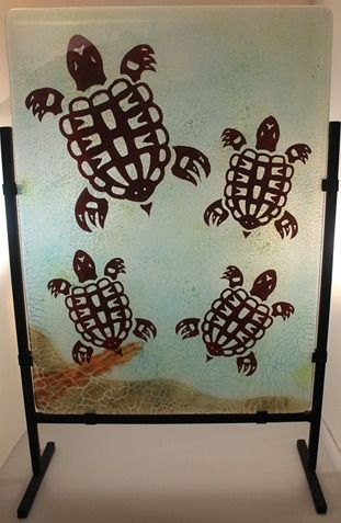 "Motherhood - Western Painted Turtles by Alisa Nielsen, Spirit Wolf Design Seried: 2 of 25 approximately 12"" x 16"" Kiln Formed Fused Glass $450USD"