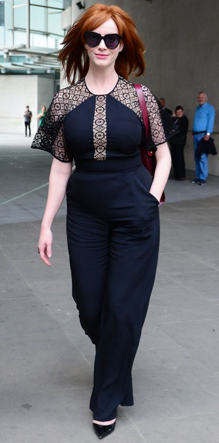 • Christina Hendricks was snapped effortlessly rocking a black Temperley London one-piece with lace panels, complete with patent black Kurt Geiger pumps •