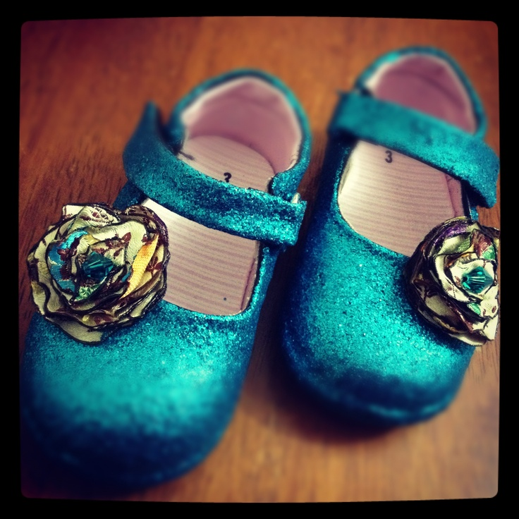 I made disco shoes for Jasmine from a pair of black Mary Janes we got at a flea market!