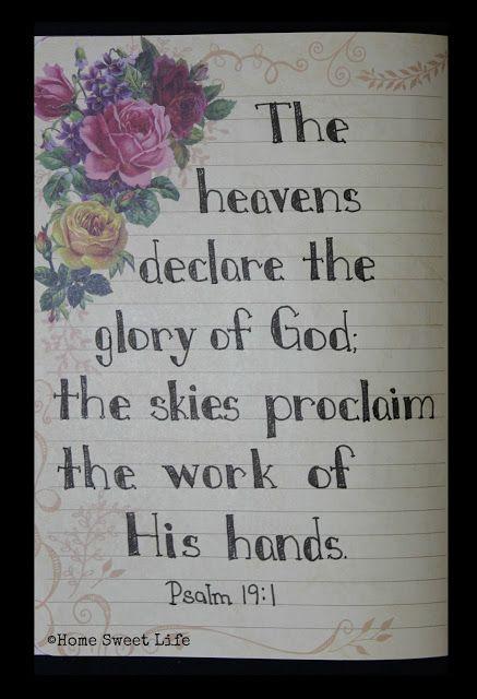 Home Sweet Life Blog ~ Psalm 19:1