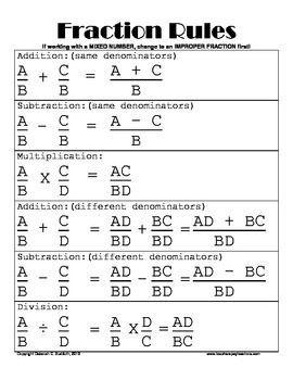 Fraction Rules Cheat Sheet | FRACTION RULES POSTER OR HANDOUT - TeachersPayTeachers.com