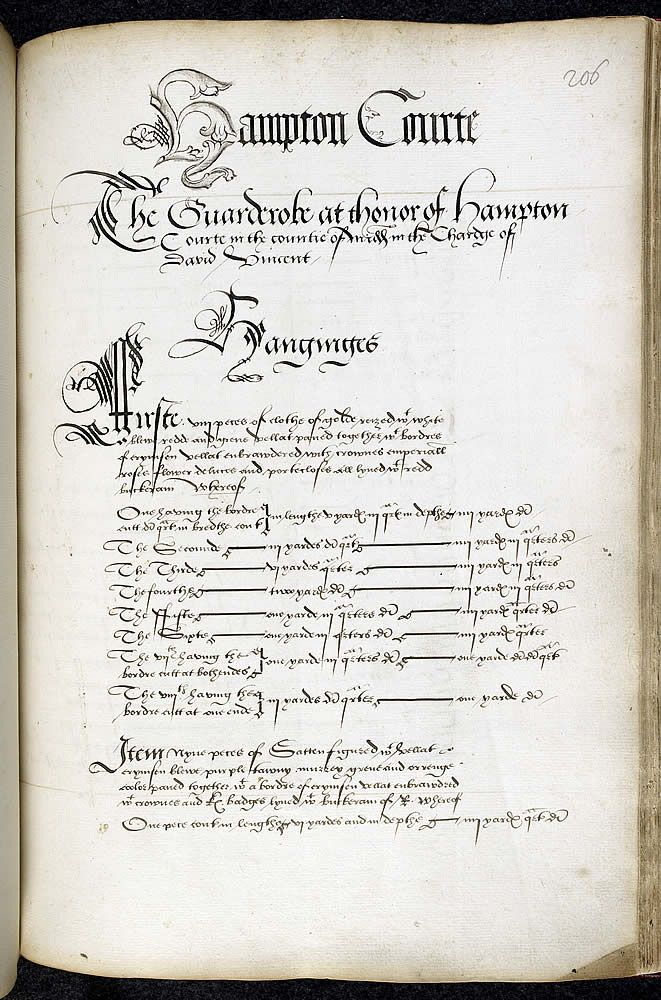 Inventory of Henry VIII's assets on his death - Commissioners appointed in September 1547 took 18 months to compile an inventory of Henry VIII's movable goods.     The first part of the surviving inventory includes money, jewels, plate, artillery, munitions, ships, arms, armour, horses, masque garments, tents, liturgical vestments and books. The second covers other items in the principal royal residences and wardrobes or stores. The inventory includes hundreds of thousands of objects.