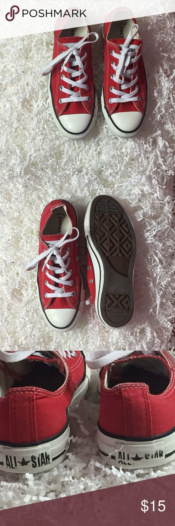 Red converse! Used red converse, but in good condition! Converse Shoes Sneakers