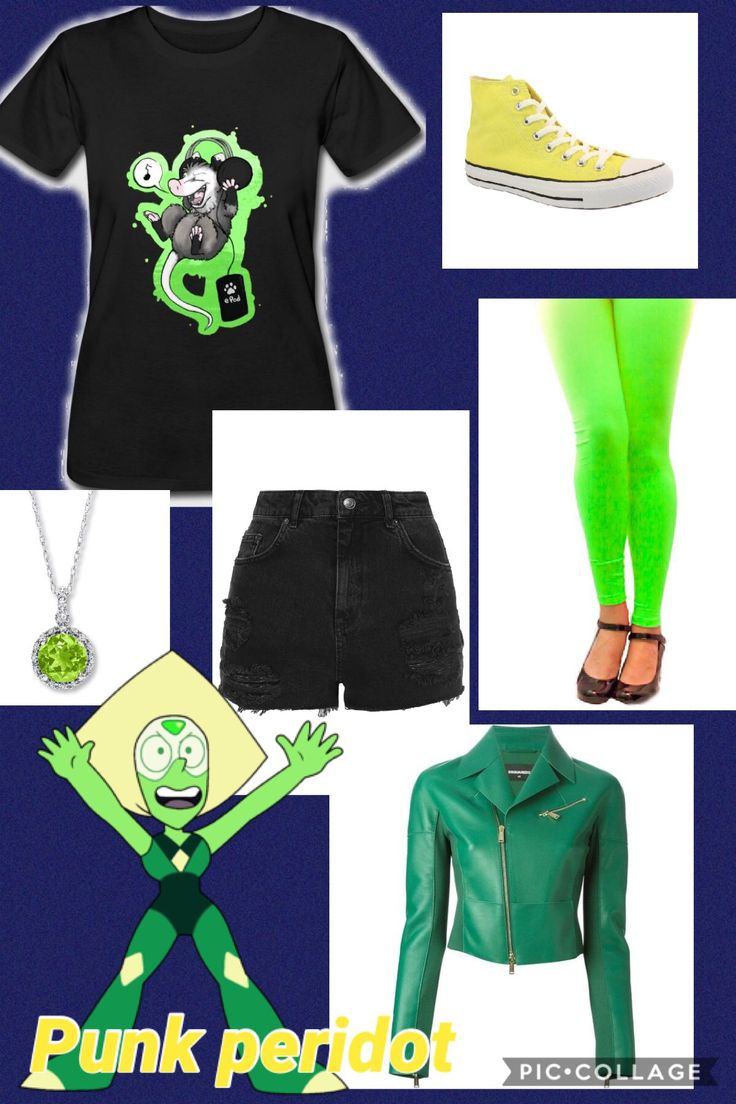 An outfit inspired by Peridot from Steven Universe, I don't own Steven Universe or any of the companies that made these clothes. Punk peridot, human peridot, Steven Universe closet cosplay,