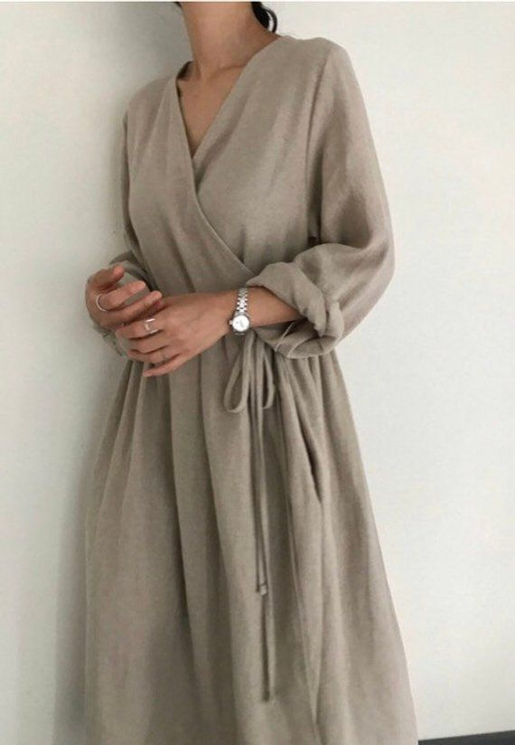 bbde8ccf5b Plunge neckline linen wrap maxi dress in 2019