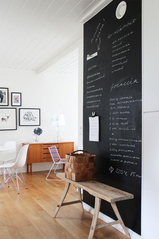 Chalkboard wall organizer. Image via talopihkala