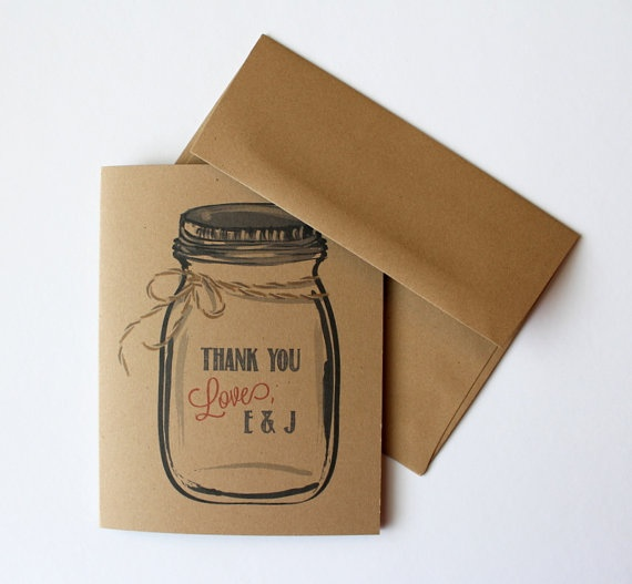 30 Wedding Thank You Mason Jar Cards Stationery by Paperlaced on #etsy Customize with your initials!
