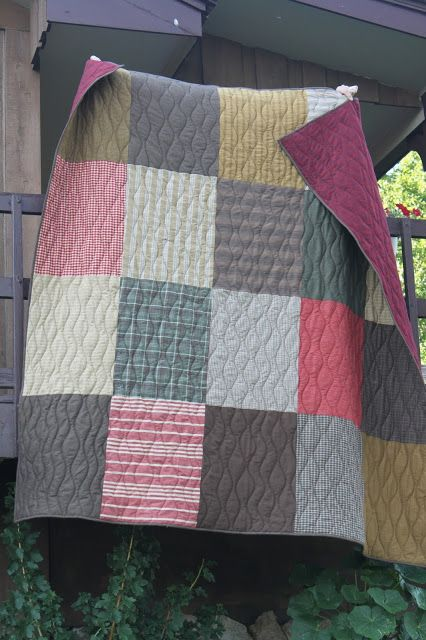 Stitch by Stitch Super easy quilt 20 fat quarters, trimmed them the same size and sew them together 5 across 4 down. Quilt a simple all-over wave
