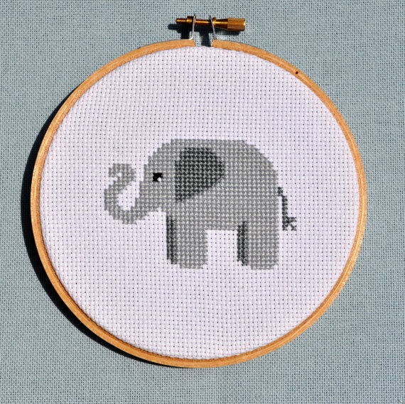 An elephant cross stitcher never forgets (the pattern once they've stitched it). ($5.00 pattern)