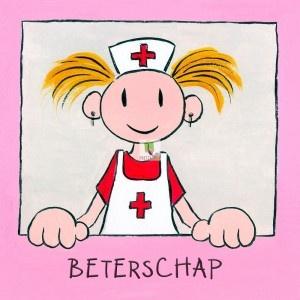 Beterschap, meisje zuster.  Van zo'n vrolijke kaart word je gelijk weer beter!     (per stuk $1.00 euro, digitaal te versturen via http://kaarten.doekiekunst.nl )